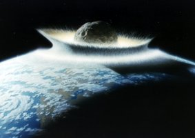 Asteroid Hits Earth (Painting)